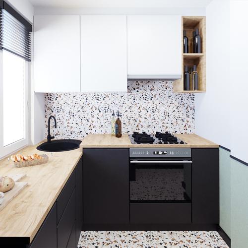Projekt kuchni w stylu mid century modern. M2 Architektura architekt Katowice
