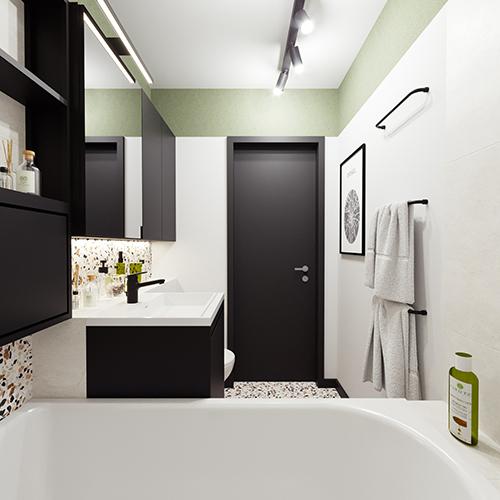 Projekt łazienki w stylu mid century modern. M2 Architektura architekt Katowice