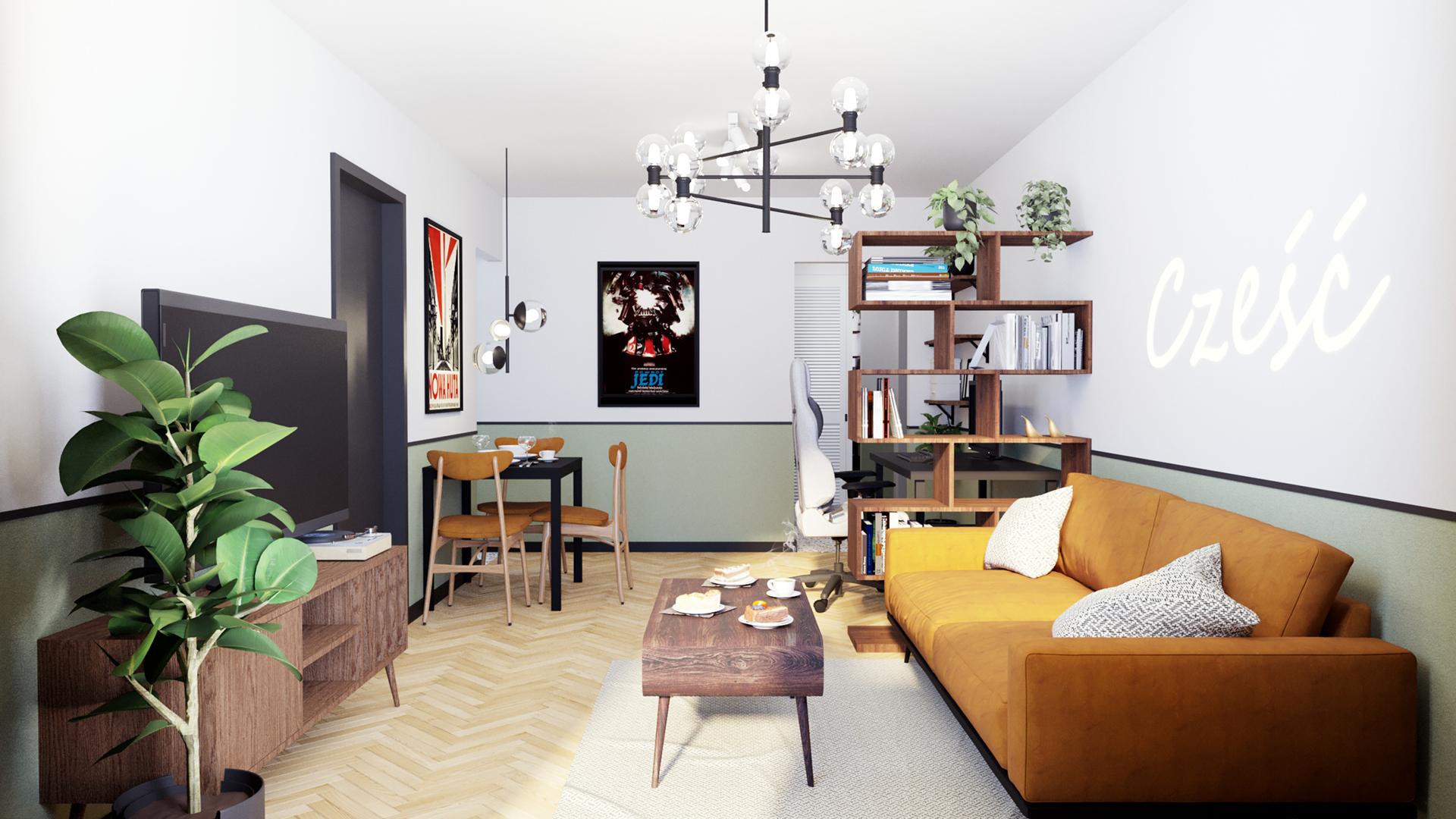 Projekt wnętrz mieszkania w budynku wielorodzinnym w Krakowie w stylu mid-century modern. M2 Architektura Katowice - Pracownia Projektowa Katowice