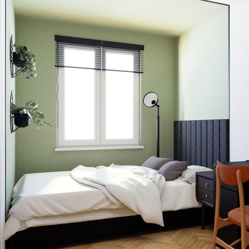 Projekt sypialni w stylu mid century modern. M2 Architektura architekt Katowice