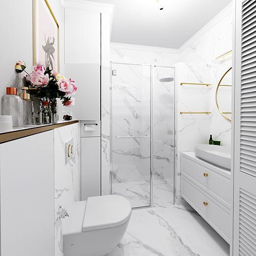 Projekt łazienki w stylu glamour. M2 Architektura architekt Katowice