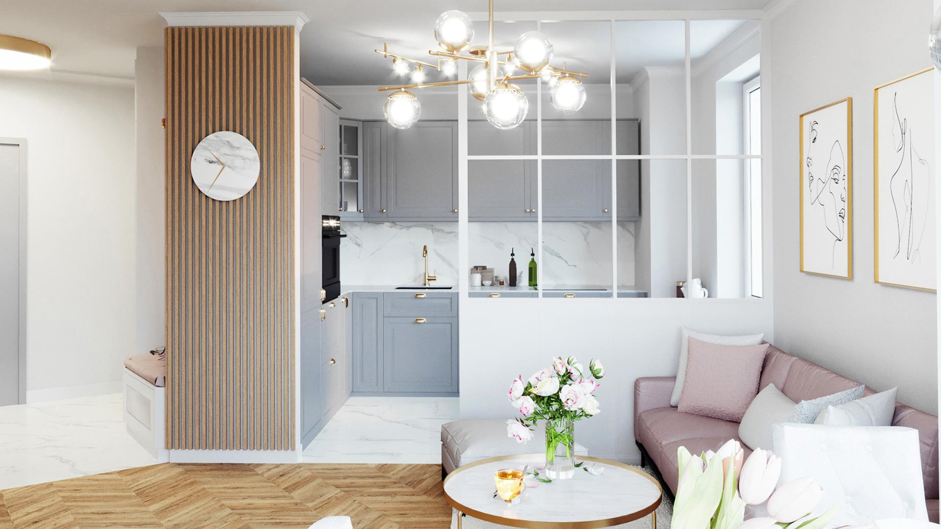 Projekt wnętrz mieszkania w budynku wielorodzinnym w Warszawie w stylu glamour. M2 Architektura Katowice - Pracownia Projektowa Katowice