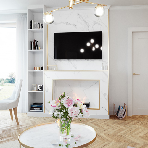 Projekt salonu w stylu glamour M2 Architektura architekt Katowice