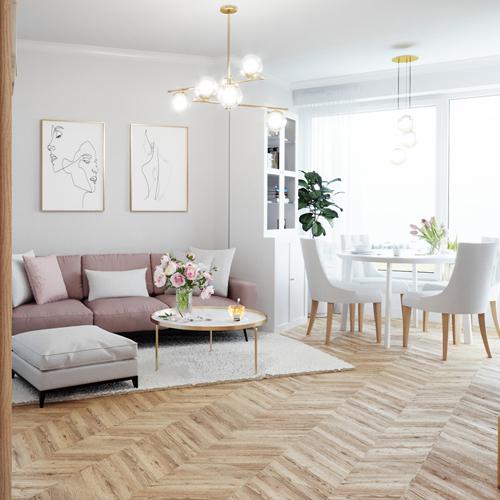 Projekt pokoju w stylu glamour. M2 Architektura architekt Katowice