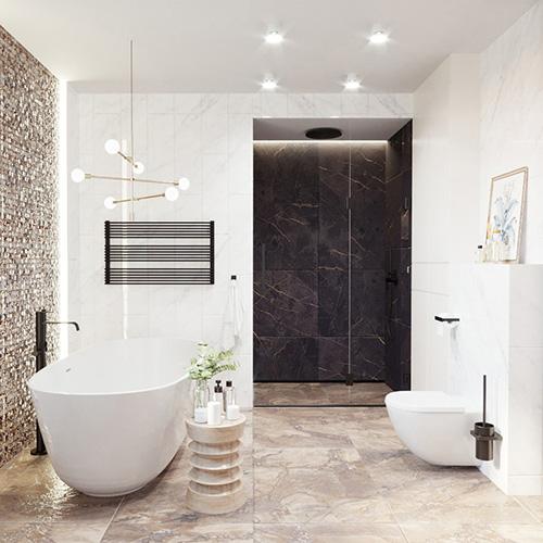 Projekt łazienki z kamiennymi płytkami i złotymi dodatkami. M2 Architektura architekt Katowice