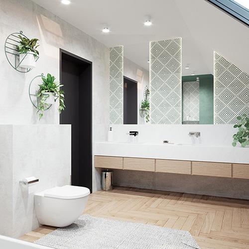 Projekt biało zielonej łazienki. M2 Architektura architekt Katowice