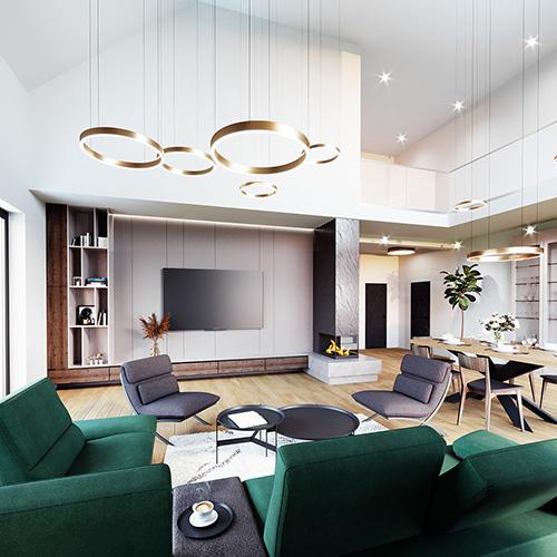 Projekt salonu z wysokim sufitem. M2 Architektura architekt Katowice