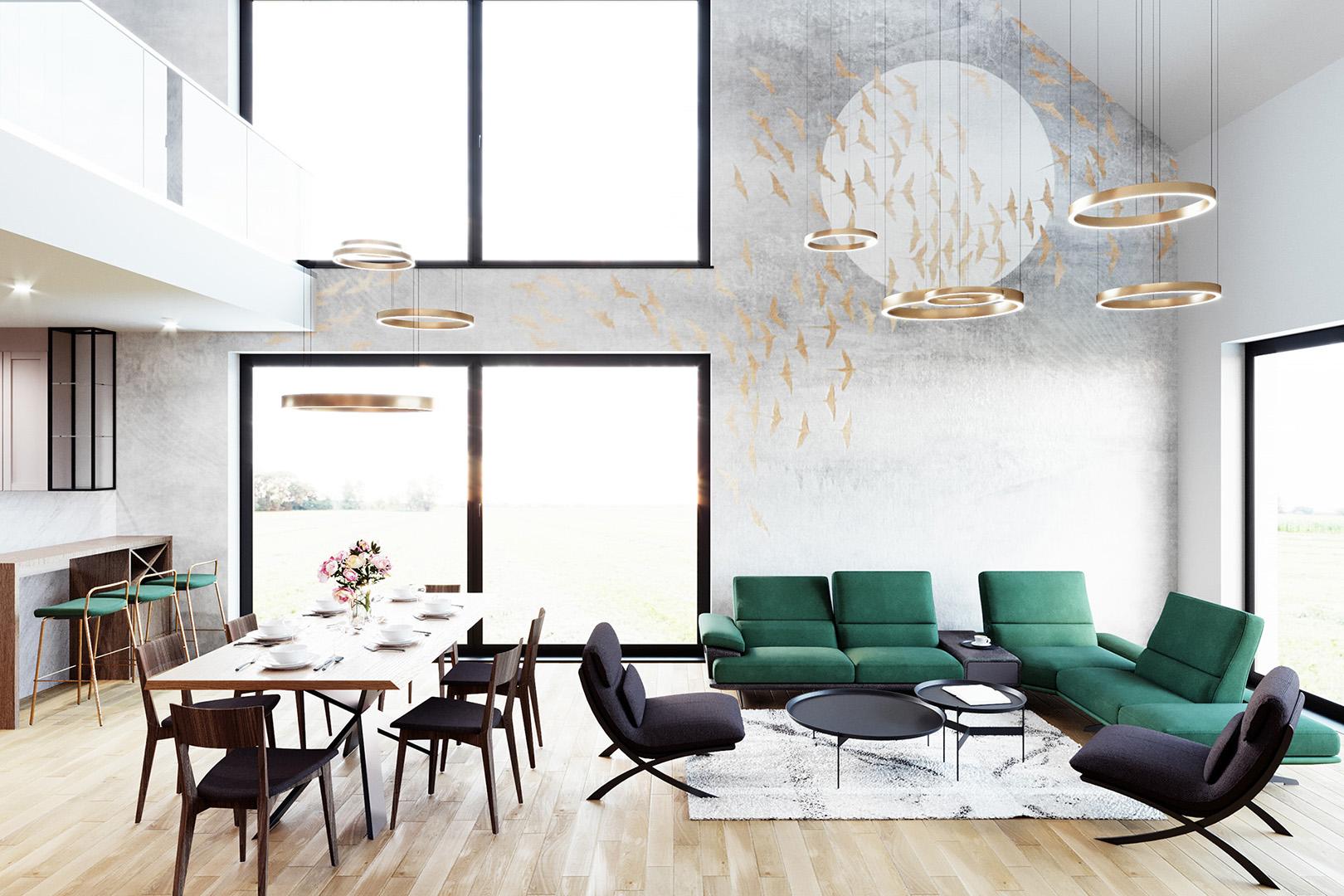 Projekt wnętrz domu jednorodzinnego. Widok na salon z wysokim sufitem. M2 Architektura Katowice - Pracownia Projektowa Katowice