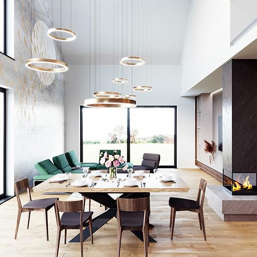 Projekt wnętrza salonu z tapetą M2 Architektura architekt Katowice