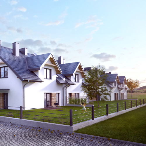 Wizualizacja domów dwulokalowych w zabudowie bliźniaczej, M2 Architektura wizualizacje 3d