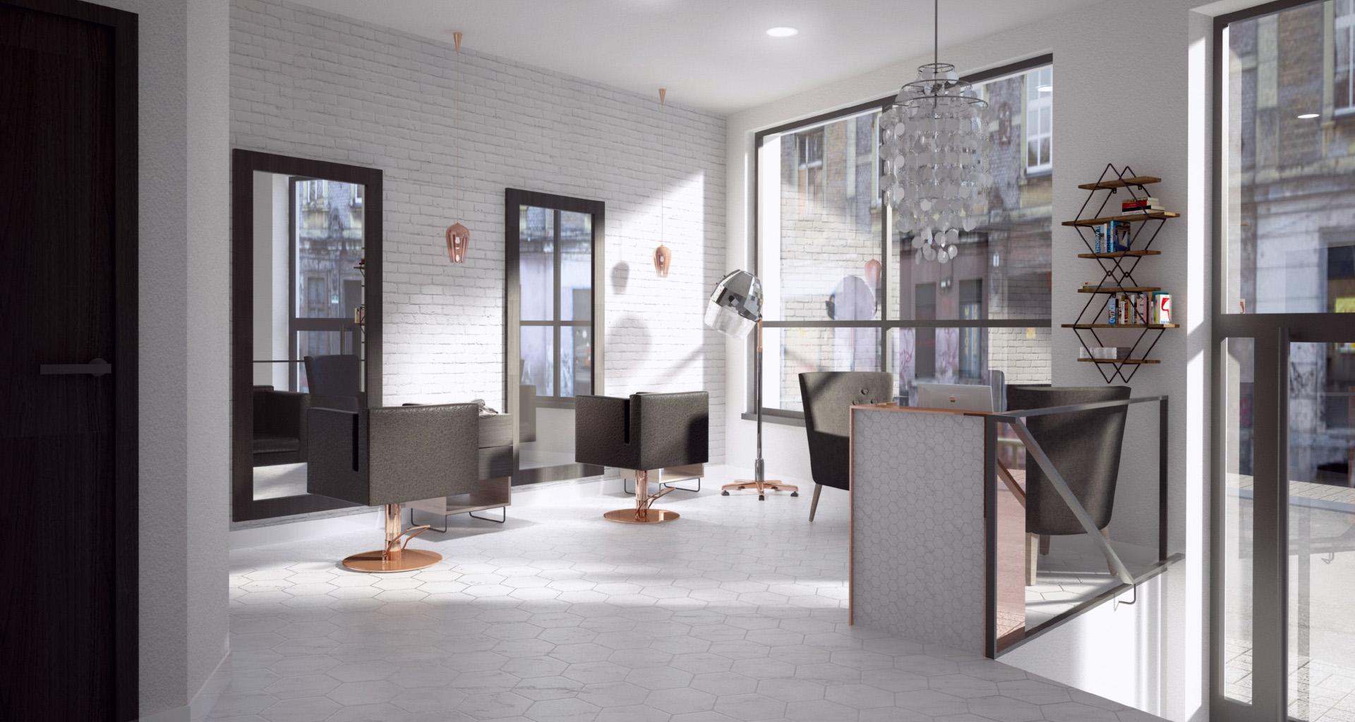 Wizualizacja wnętrza salonu fryzjerskiego. M2 Architektura
