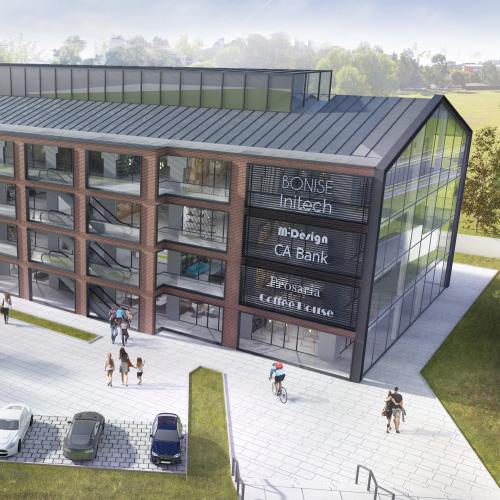Koncepcja elewacji budynku usługowego. M2 Architektura