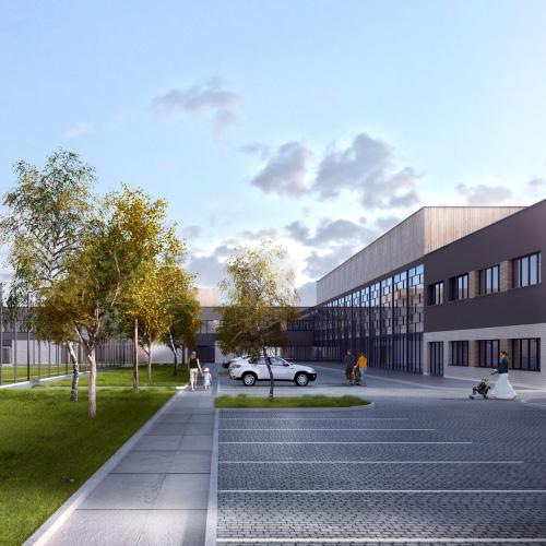 Wizualizacja szkoły na zlecenie biura projektowego, M2 Architektura wizualizacje budynków