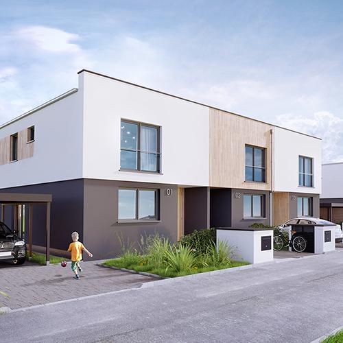 Wizualizacja osiedla domów szeregowych. M2 Architektura