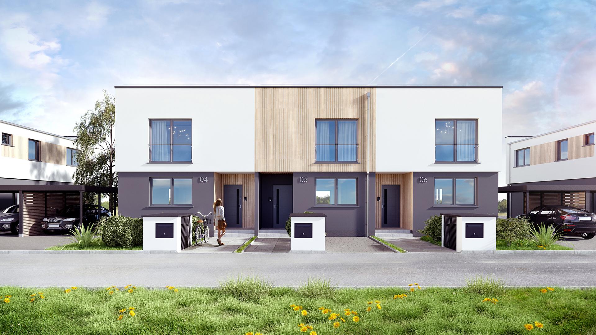 Wizualizacje osiedla domów szeregowych. M2 Architektura