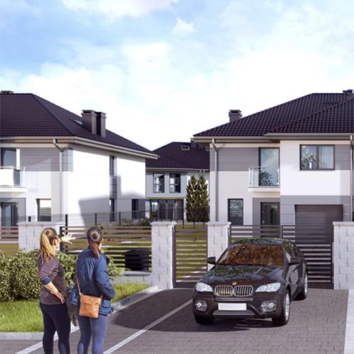Wizualizacje budynków mieszkalnych jednorodzinnych w zabudowie bliźniaczej. M2 Architektura Katowice