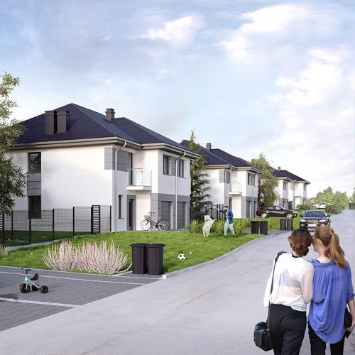 Wizualizacje 3D osiedla domów dla dewelopera. M2 Architektura, wizualizacje domów