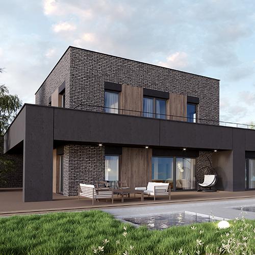 Dom jednorodzinny wielopokoleniowy, dach płaski, naturalne materiały, widok na taras. M2 Architektura Katowice - Pracownia Projektowa Katowice