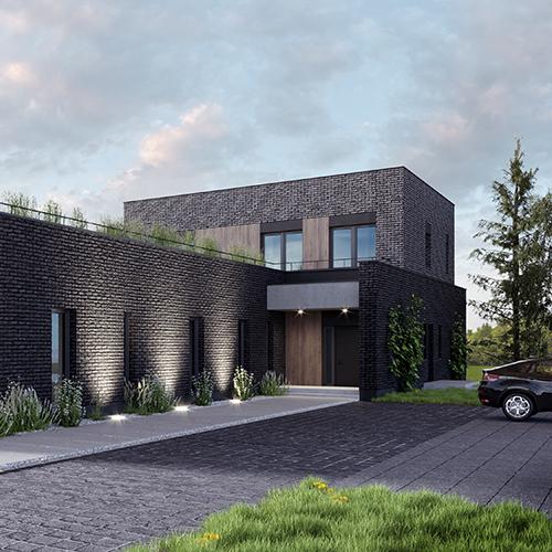 Rezydencja podmiejska, basen, dach płaski, naturalne materiały, widok na taras. M2 Architektura Katowice - Pracownia Projektowa Katowice