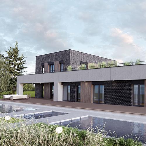 Dom z zielonym dachem, duży taras, basen.. M2 Architektura Katowice - Pracownia Projektowa Katowice M2 Architektura Katowice - Pracownia Projektowa Katowice