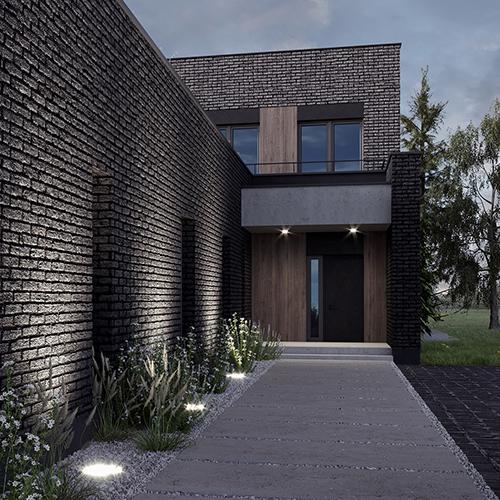 Podświetlenie wejścia do domu. M2 Architektura Katowice - Pracownia Projektowa Katowice M2 Architektura Katowice - Pracownia Projektowa Katowice