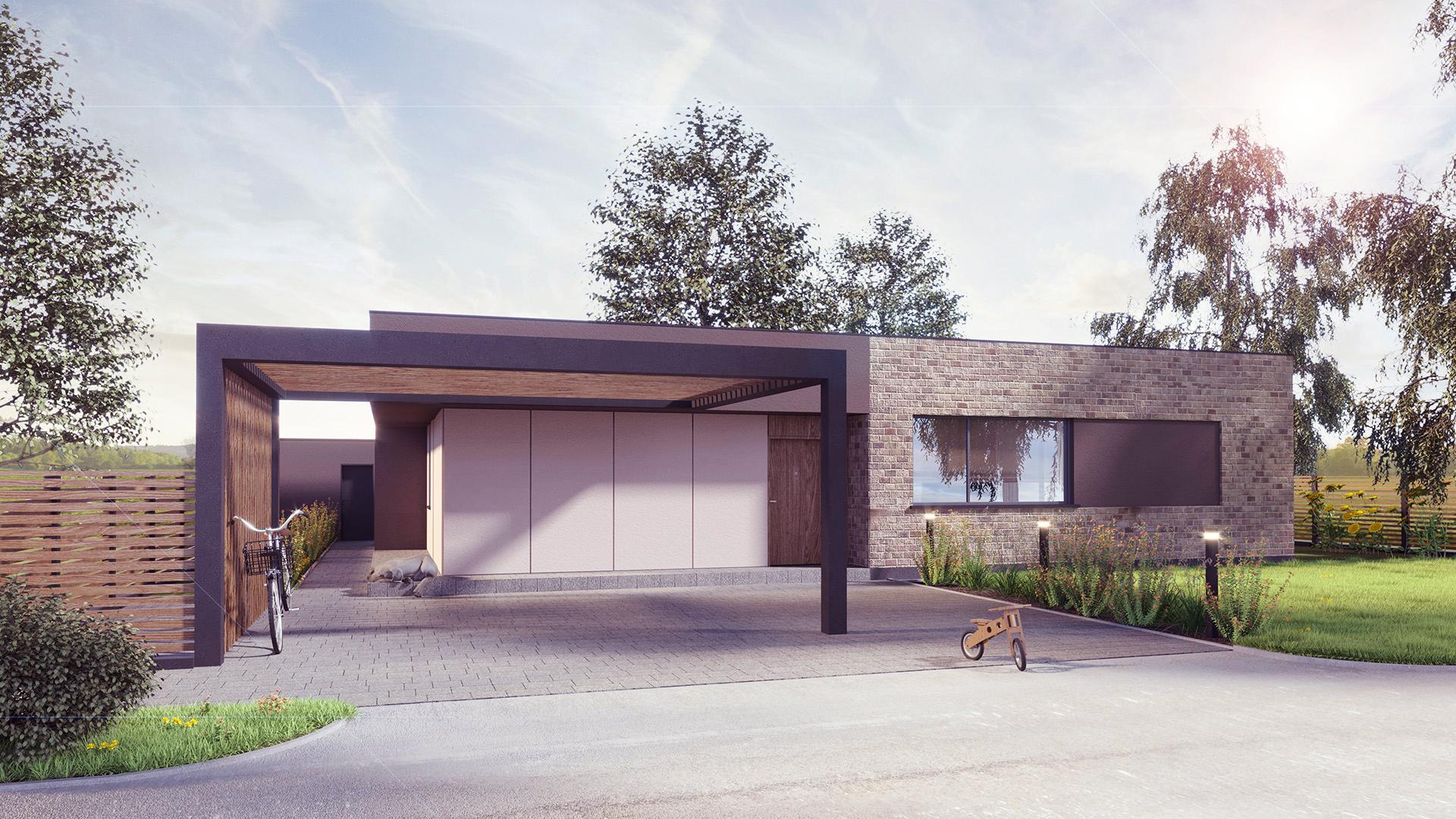 Dom jednorodzinny parterowy dach płaski, naturalne materiały, elewacja z cegły. M2 Architektura Katowice - Pracownia Projektowa Katowice