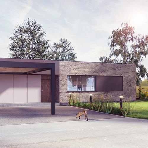 Dom parterowy z płaskim dachem, elewacja z cegły. M2 Architektura - Pracownia Projektowa Katowice.