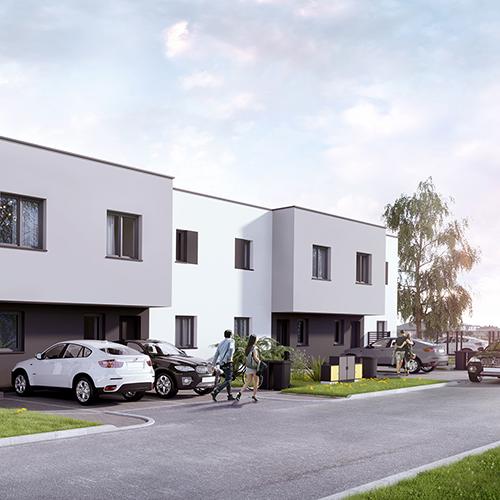 Domy szeregowe, prosta bryła, widok na front. M2 Architektura Katowice - Pracownia Projektowa Katowice