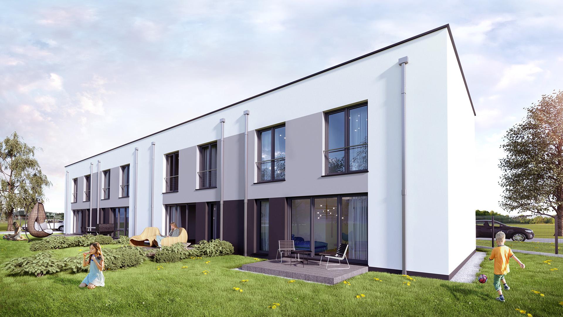 Domy szeregowe, prosta bryła, nowoczesna architektura, dachy płaskie, ogród. M2 Architektura Katowice - Pracownia Projektowa Katowice