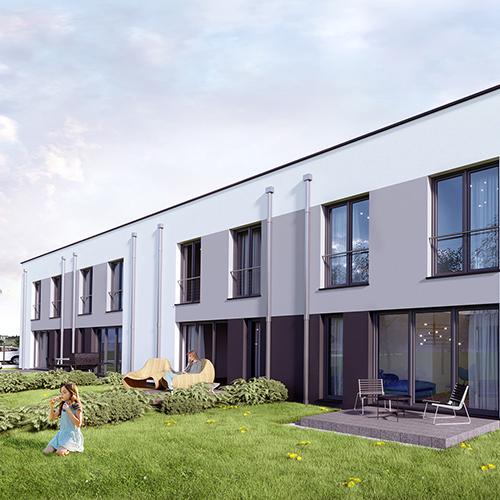 Projekt domów w zabudowie szeregowej. Nowoczesna bryła z płaskim dachem. M2 Architektura - Pracownia Projektowa Katowice.