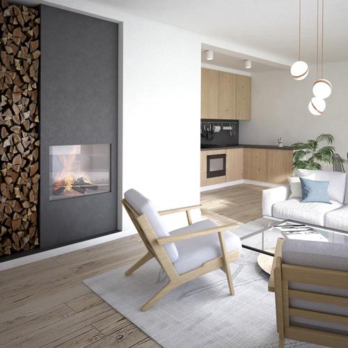 Projekt wnętrza mieszkania w budynku mieszkalnym jednorodzinnym w zabudowie bliźniaczej - salon z kuchnią, kominek. M2 Architektura - Pracownia Projektowa Katowice.