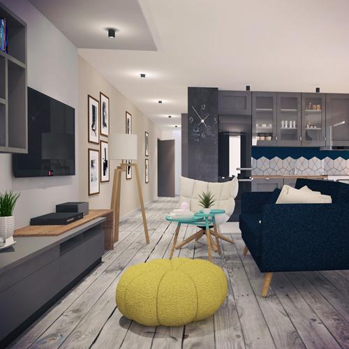 Projekt wnętrza mieszkania - salon z kuchnią, styl skandynawski. M2 Architektura - Pracownia Projektowa Katowice.
