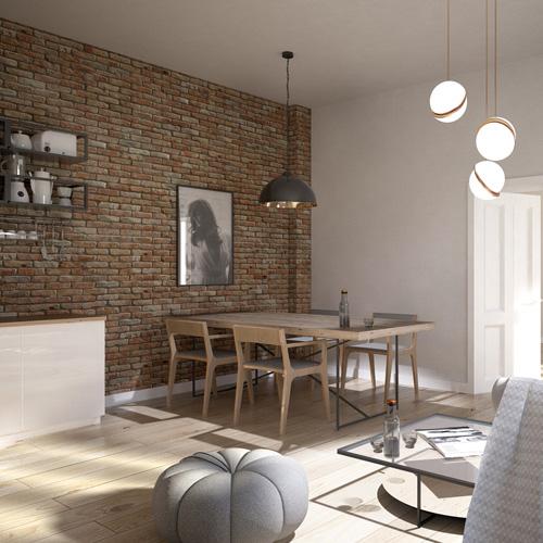 Projekt wnętrza mieszkania w kamienicy - salon z kuchnią, ściana ceglana. M2 Architektura - Pracownia Projektowa Katowice.