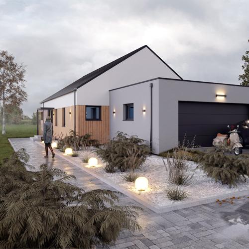 Projekt domu w stylu nowoczesnej stodoły z garażem dwustanowiskowym i bezokapowym dachem dwuspadowym. M2 Architektura - Pracownia Projektowa Katowice.