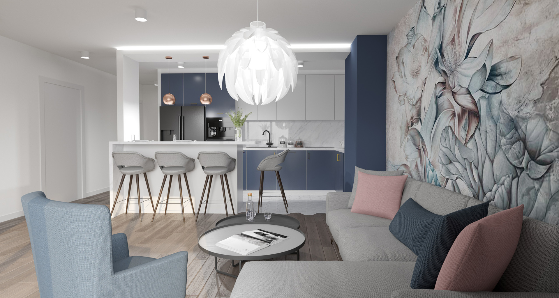 Projekt wnętrz mieszkania, budynek wielorodzinny - salon z kuchnią. M2 Architektura Katowice - Pracownia Projektowa Katowice