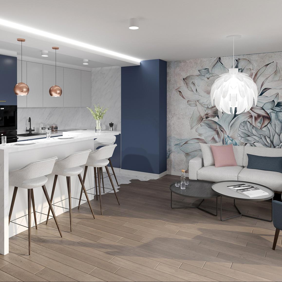 Projekt wnętrz mieszkania, budynek wielorodzinny - styl nowoczesny, pokój dzienny, salon z kuchnią. M2 Architektura Katowice - Pracownia Projektowa Katowice