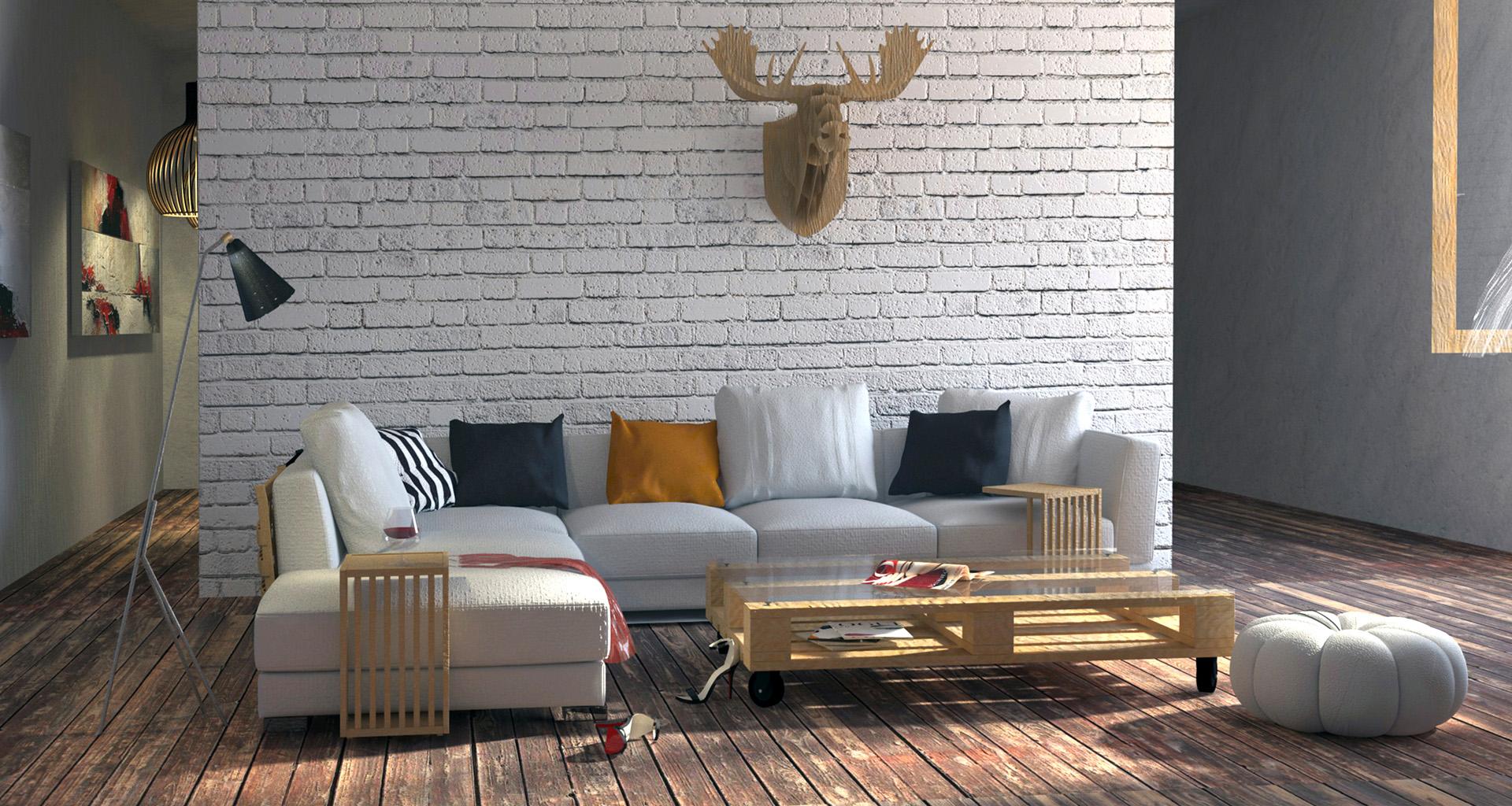 Projekt wnętrza pokoju dziennego - styl industralny. M2 Architektura - Pracownia Projektowa Katowice.