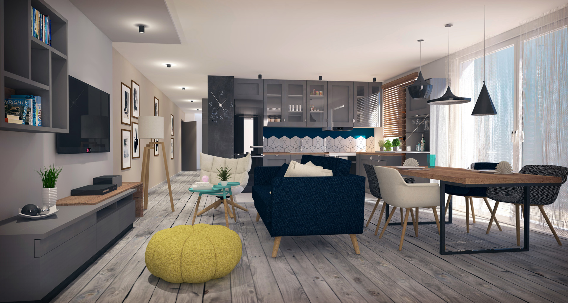 Projekt wnętrza mieszkania - styl skandynawski - salon z kuchnią. M2 Architektura - Architekci Katowice.