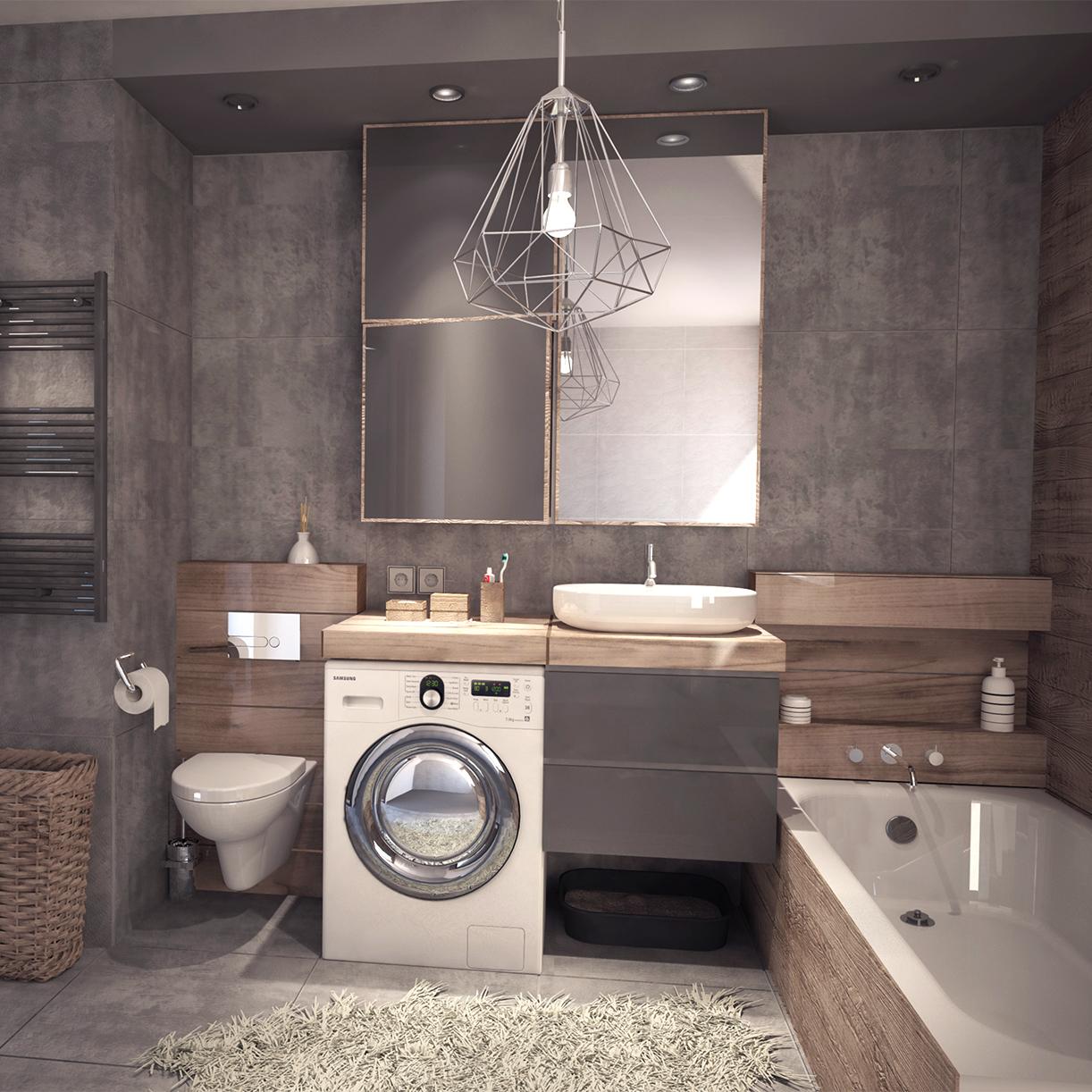 Projekt wnętrza mieszkania - łazienka - płytki beton, drewno. M2 Architektura - Architekci Katowice.