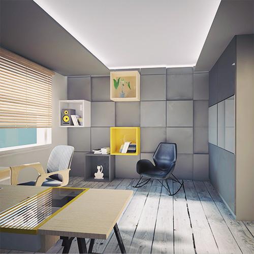 Projekt wnętrza mieszkania - gabinet, panele akustyczne na ścianie, fotel bujany. M2 Architektura - Architekci Katowice.
