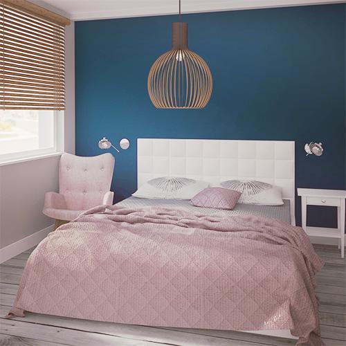 Projekt wnętrza mieszkania - sypialnia, biały tapicerowany zagłówek łóżka, turkusowa ściana, dodatki w kolorze brudnego różu. M2 Architektura - Architekci Katowice.