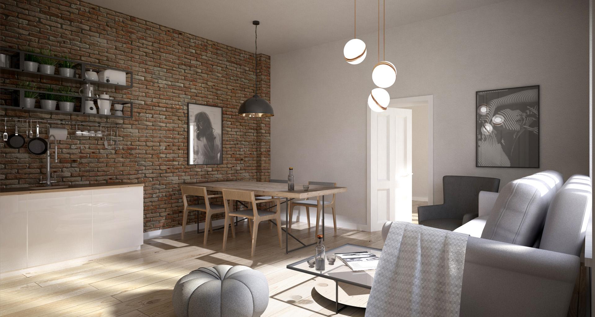 Projekt wnętrza mieszkania - ściana z cegły - salon z kuchnią. M2 Architektura - Architekci Katowice.