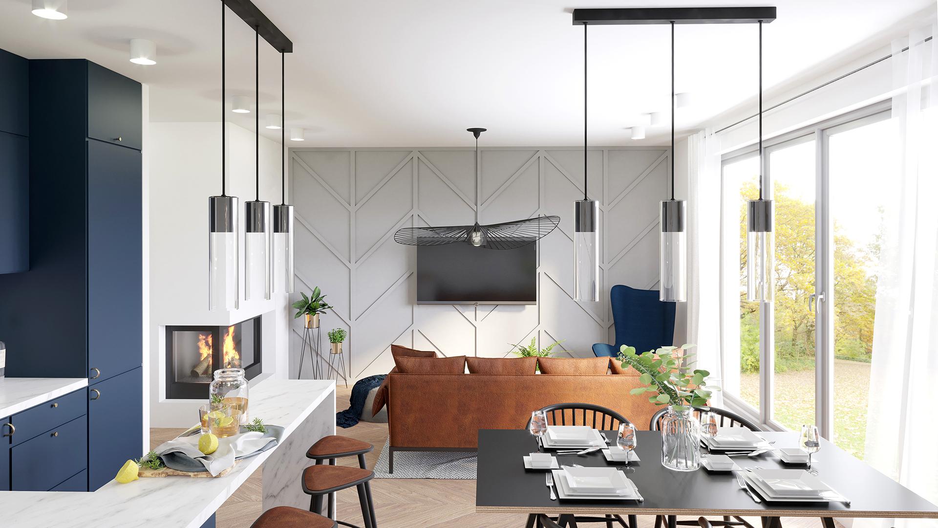 Projekt wnętrz - domy szeregowe, salon, granatowa kuchnia, lampa Vertigo. M2 Architektura Katowice - Pracownia Projektowa Katowice