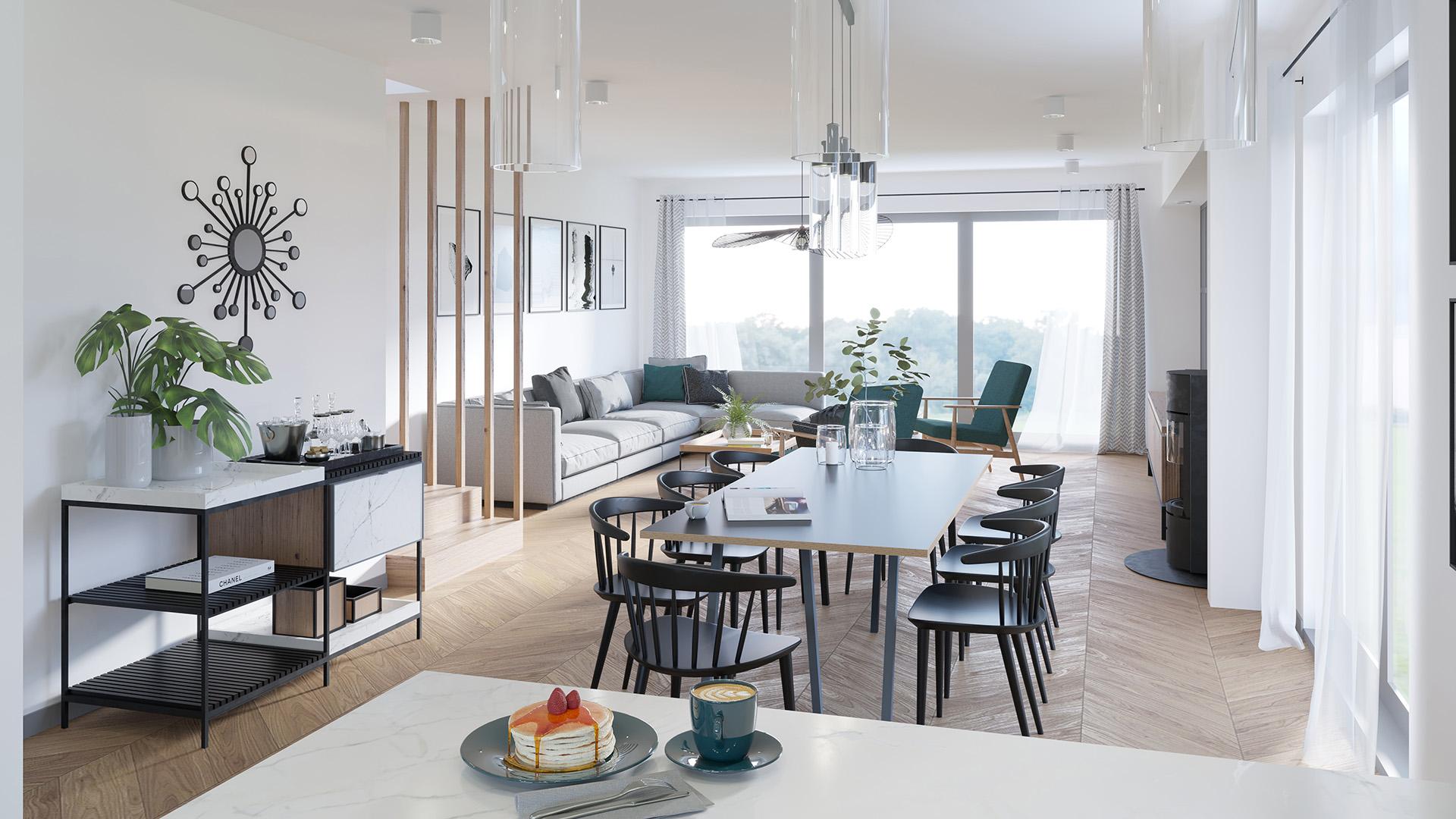Projekt wnętrz - domy szeregowe, salon z  kuchnią, podłoga jodełka. M2 Architektura Katowice - Pracownia Projektowa Katowice