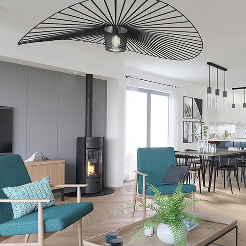 Projekt wnętrz - salon z kuchnią, fotel Lisek, lampa Vertigo, kominek. M2 Architektura Katowice - Pracownia Projektowa Katowice