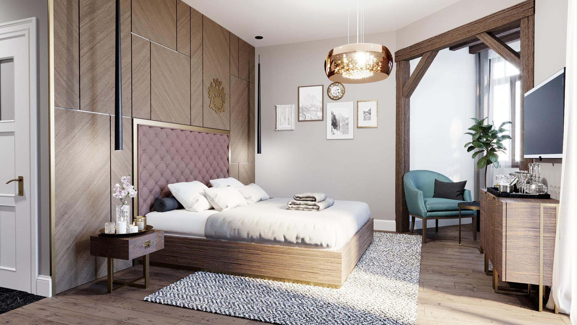Projekt wnętrza pokoju w hotelu uwzględniający historyczny charakter rezydencji oraz najnowsze trendy we wnętrzach.