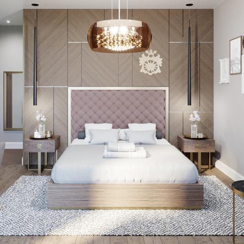 Wizualizacja hotelu pokazująca frontalny widok na drewnianą ścianę oraz tapicerowane wezgłowie łóżka.