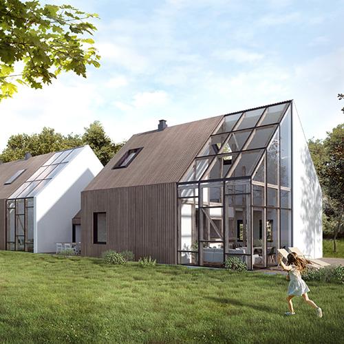 Dom nowoczesna stodoła, duże przeszkelenie. M2 Architektura - Pracownia Projektowa Katowice.