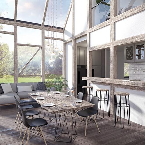 Projekt domu jednorodzinnego - współczesny dom wiejski - wnętrze. M2 Architektura