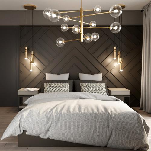 Projekt wnętrz - sypialnia w ciepłych barwach. Styl elegancki, dekoracja ścienna. M2 Architektura - architekt Katowice.